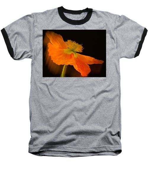 Dramatic Orange Poppy Baseball T-Shirt