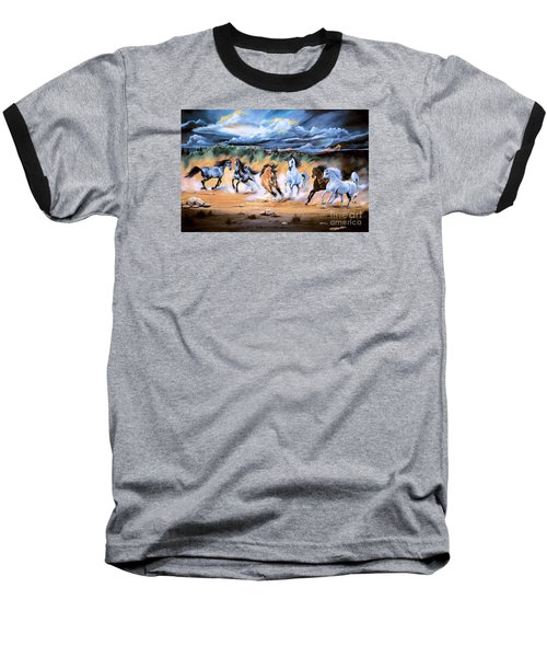 Dream Horse Series 125 - Flat Bottom River Wild Horse Herd Baseball T-Shirt by Cheryl Poland