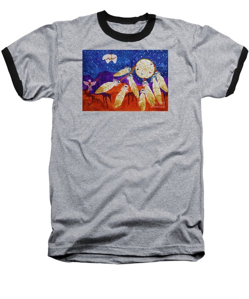 Dreamcatcher Over The Mesas Baseball T-Shirt by Ellen Levinson