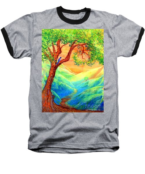 Baseball T-Shirt featuring the painting Dreaming Of Bluebells by Jane Small