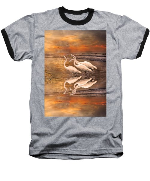 Dreaming Of Egrets By The Sea Reflection Baseball T-Shirt by Betsy Knapp
