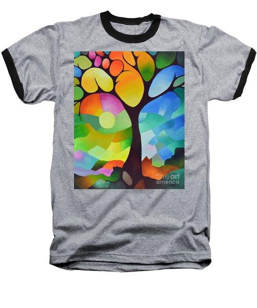 Dreaming Tree Baseball T-Shirt by Sally Trace