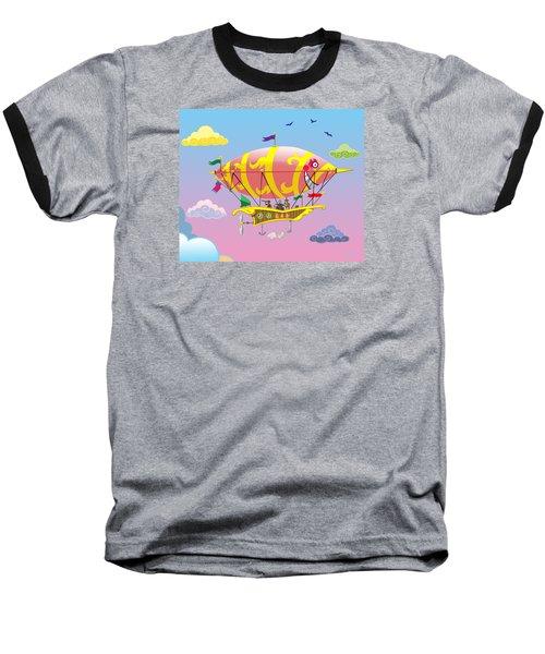 Rainbow Steampunk Dreamship Baseball T-Shirt by J L Meadows