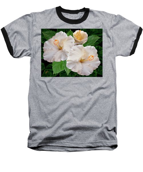 Dreamy Blooms - White Hibiscus Baseball T-Shirt