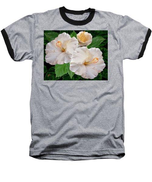 Dreamy Blooms - White Hibiscus Baseball T-Shirt