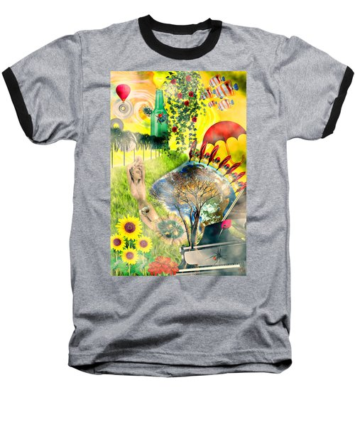 Baseball T-Shirt featuring the mixed media Drifting Away by Ally  White
