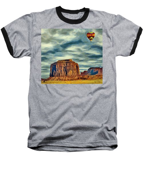 Baseball T-Shirt featuring the painting Drifting Over Monument Valley by Jeff Kolker