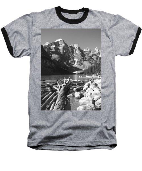 Driftwood - Black And White Baseball T-Shirt by Marcia Socolik