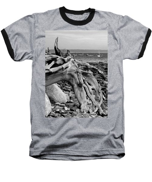 Driftwood On Rocky Beach Baseball T-Shirt