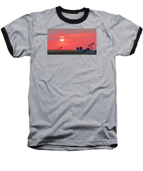 Baseball T-Shirt featuring the photograph Rising Full Moon In Oklahoma by Janette Boyd