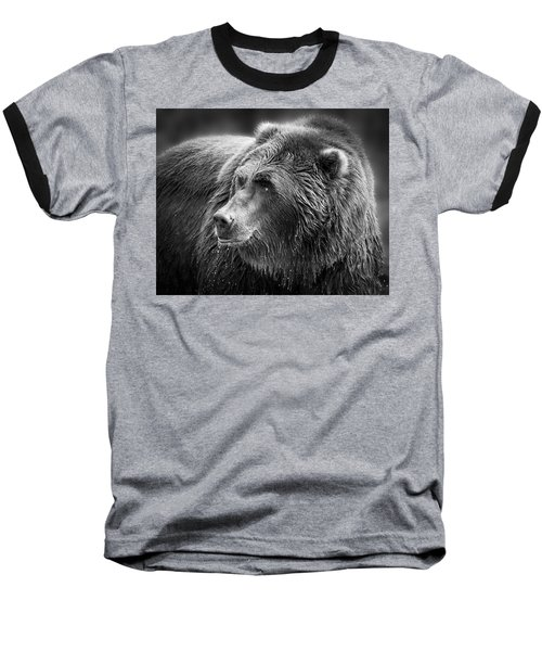 Drinking Grizzly Bear Black And White Baseball T-Shirt by Steve McKinzie