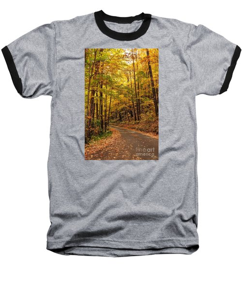 Baseball T-Shirt featuring the photograph Driving Fall Mountain Roads. by Debbie Green