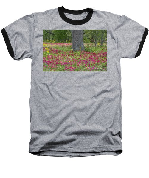 Baseball T-Shirt featuring the photograph Drummonds Phlox And Crown Tickweed Central Texas by Dave Welling