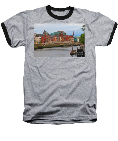 Dublin On The River Liffey Baseball T-Shirt by Mary Carol Story