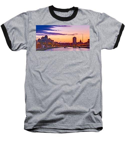 Dublin Skyline At Dusk / Dublin Baseball T-Shirt