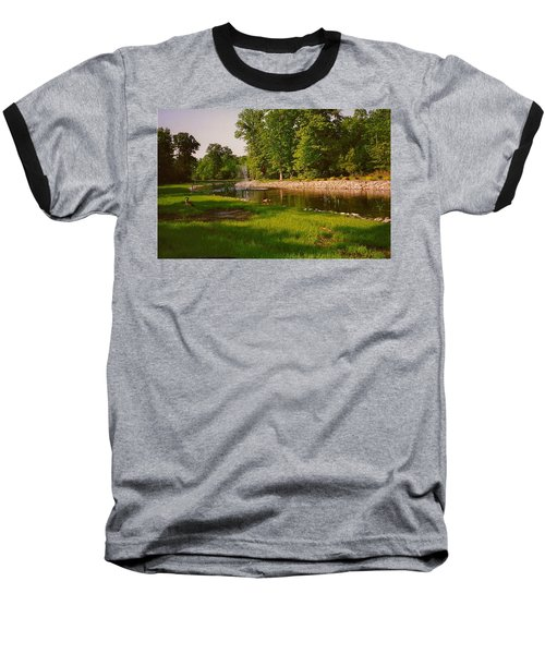 Duck Pond With Water Fountain Baseball T-Shirt by Amazing Photographs AKA Christian Wilson