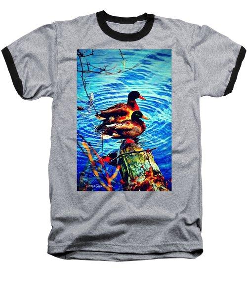 Baseball T-Shirt featuring the photograph Ducks On A Log by Tara Potts