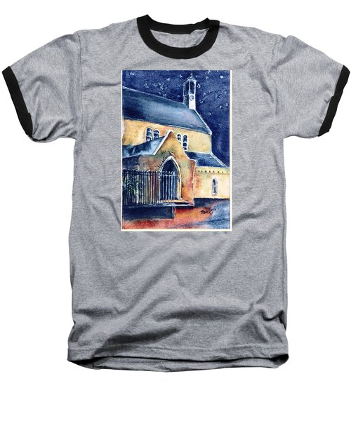 Baseball T-Shirt featuring the painting Duiske Abbey Ireland    by Trudi Doyle