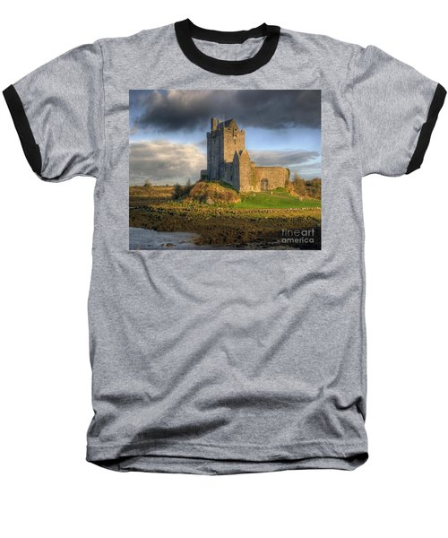 Dunguaire Castle With Dramatic Sky Kinvara Galway Ireland Baseball T-Shirt by Juli Scalzi