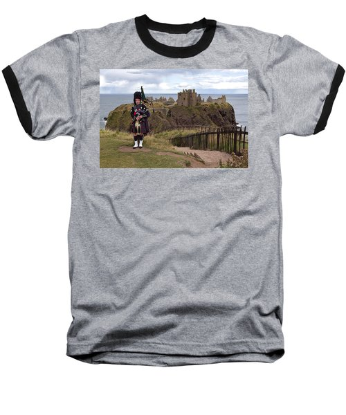 Dunnottar Piper Baseball T-Shirt by Eunice Gibb