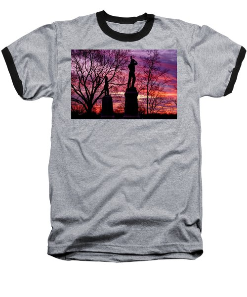 Baseball T-Shirt featuring the photograph Durell's Independent Battery D And 48th Pa Volunteer Infantry-a1 Sunset Antietam by Michael Mazaika