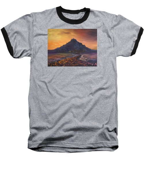 Baseball T-Shirt featuring the painting Dusk Over St Michaels Mount Cornwall by Jean Walker