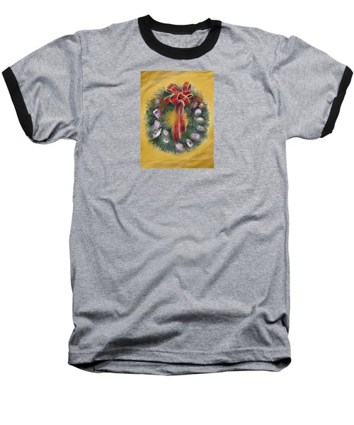 Baseball T-Shirt featuring the painting Duxbury Oyster Wreath by Jean Pacheco Ravinski