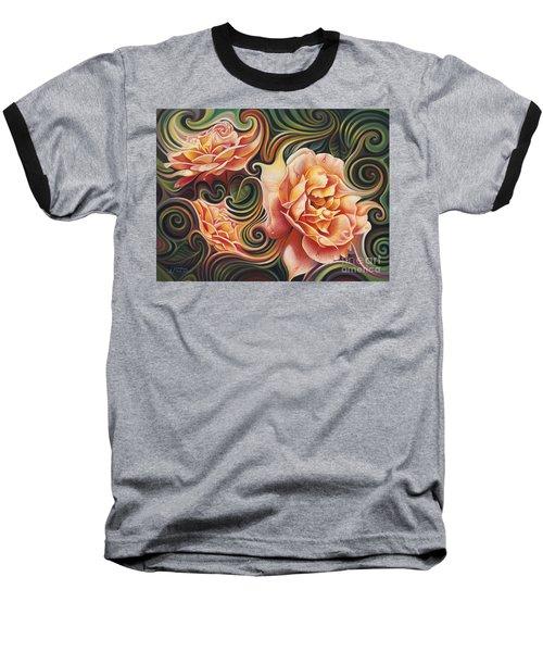 Dynamic Floral V  Roses Baseball T-Shirt