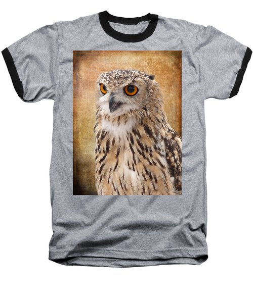 Eagle Owl Baseball T-Shirt by Lynn Bolt