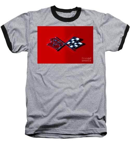 Early C3 Corvette Emblem Red Baseball T-Shirt by Dennis Hedberg