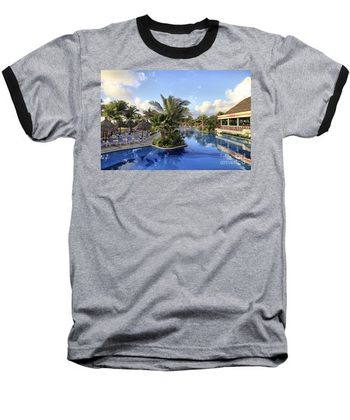 Baseball T-Shirt featuring the photograph Early Morning At The Pool by Teresa Zieba