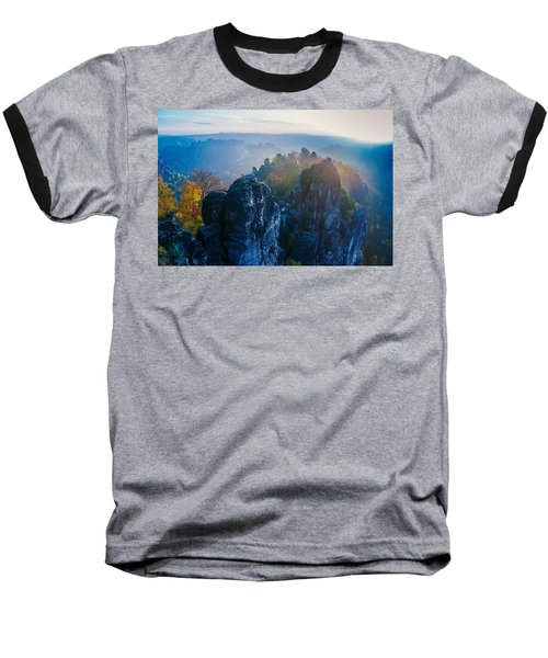 Early Morning Mist At The Bastei In The Saxon Switzerland Baseball T-Shirt
