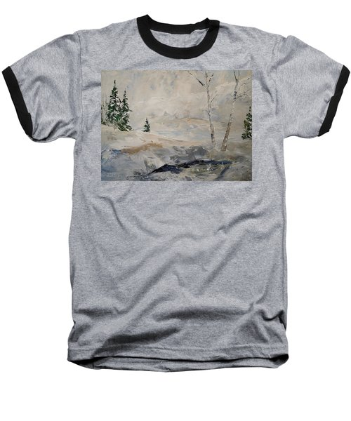 Baseball T-Shirt featuring the painting Early Snow by Alan Lakin