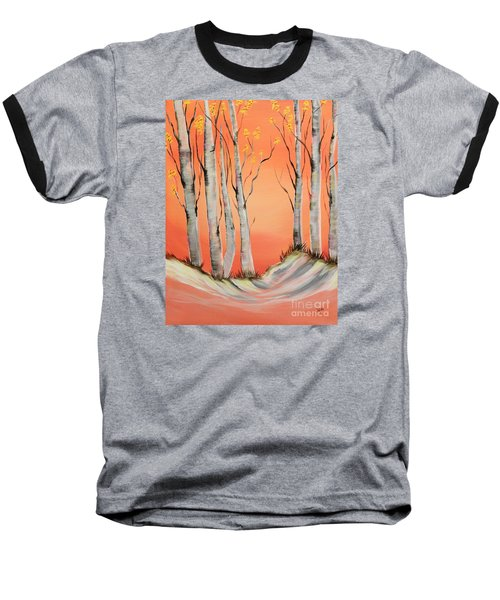 Baseball T-Shirt featuring the painting Early Winter Aspen by Janice Rae Pariza