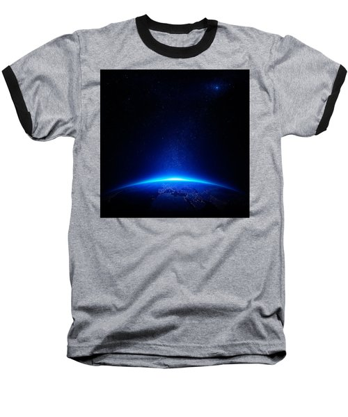 Earth At Night With City Lights Baseball T-Shirt by Johan Swanepoel