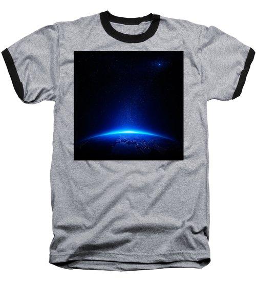 Earth At Night With City Lights Baseball T-Shirt