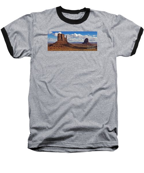 Baseball T-Shirt featuring the photograph East And West Mittens by Jerry Fornarotto