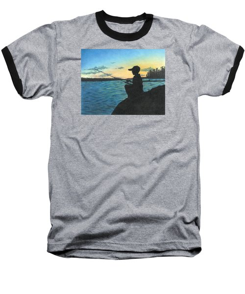 Baseball T-Shirt featuring the drawing East Pond by Troy Levesque