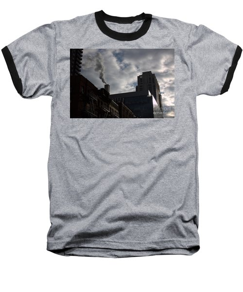 Baseball T-Shirt featuring the photograph East Side Smoke by Steven Macanka