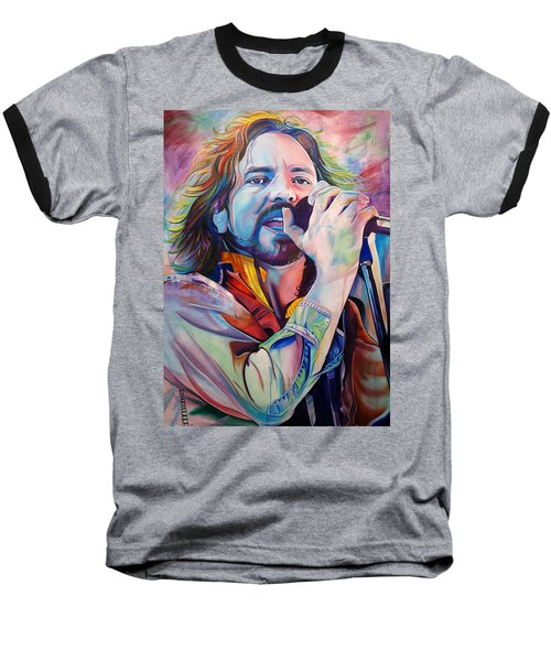 Eddie Vedder In Pink And Blue Baseball T-Shirt by Joshua Morton