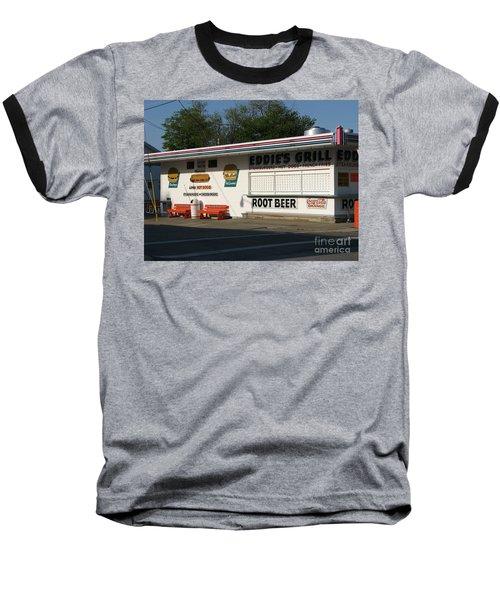 Eddie's Grill Baseball T-Shirt by Michael Krek