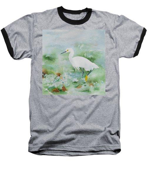 Egret 2 Baseball T-Shirt by Christine Lathrop