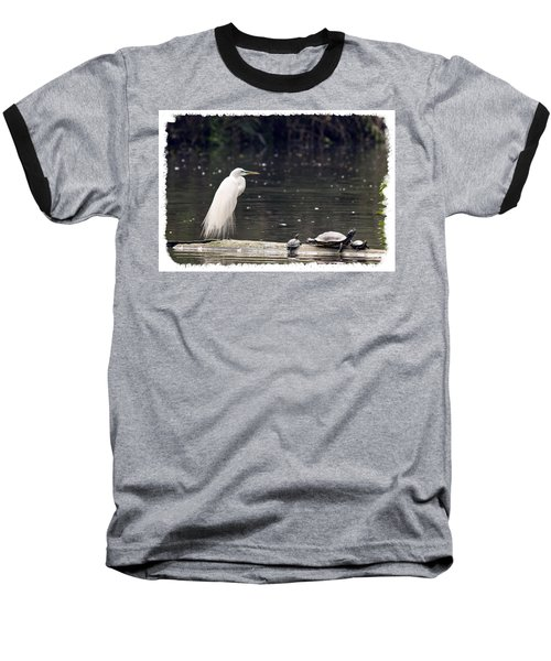 Egret And Turtles Baseball T-Shirt