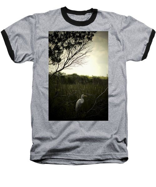Baseball T-Shirt featuring the photograph Egret At Sunset by Bradley R Youngberg
