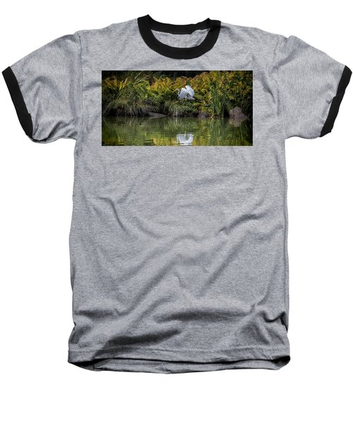 Baseball T-Shirt featuring the photograph Egret At The Lake by Chris Lord