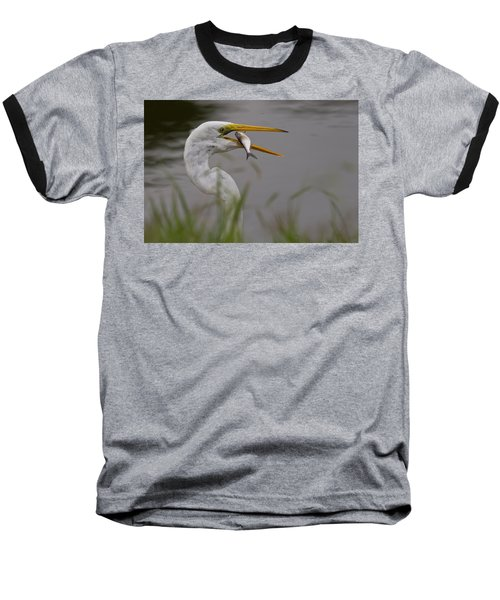 Baseball T-Shirt featuring the photograph Egret Having Lunch by Jerry Gammon