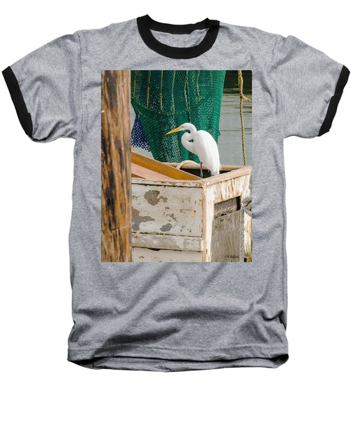 Egret With Fishing Net Baseball T-Shirt