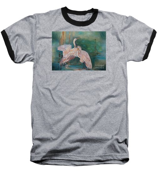Egrets In The Mist Baseball T-Shirt by Jenny Lee