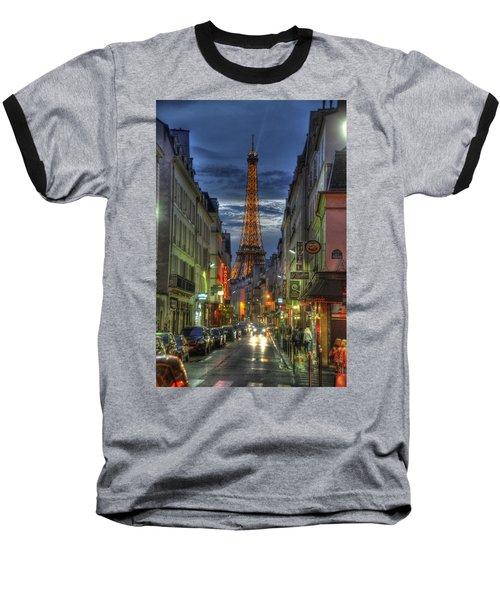 Eiffel Over Paris Baseball T-Shirt