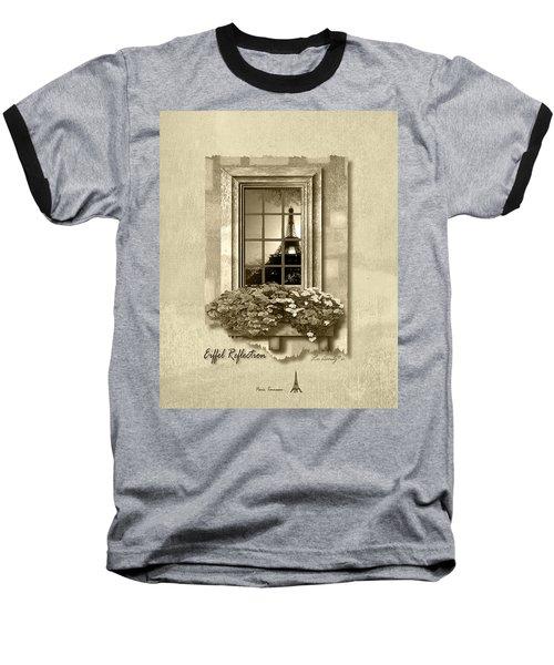 Eiffel Reflection In Sepia Baseball T-Shirt